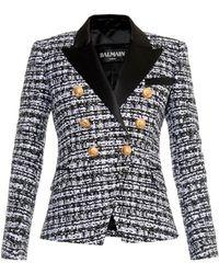Balmain Satin-Lapel Tweed Blazer - Lyst