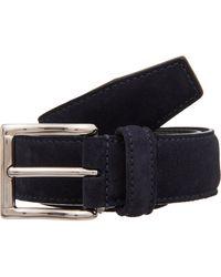 Barneys New York Stitched-Edge Belt blue - Lyst
