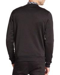 Diesel Black Gold Faux Leather Paneled Jersey Sweatshirt - Multicolor