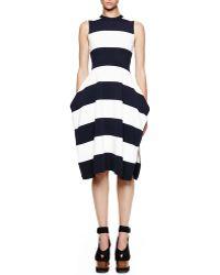 Stella McCartney Wide-stripe Sleeveless Slit Dress - Lyst