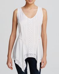 Karen Kane Lace Trim Handkerchief Hem Sleeveless Top - Lyst