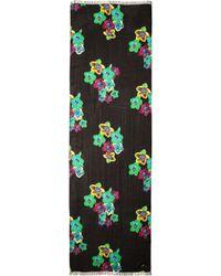 Kate Spade Kimono Floral Scarf Black Multi - Lyst