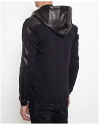 Saint Laurent Leather and Cotton Hooded Sweatshirt - Lyst