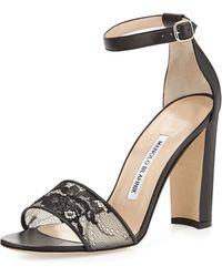 Manolo Blahnik Lauratop Lace  Leather Chunky-heel Sandal - Lyst