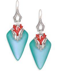 Alexis Bittar Coral Deco Lucite, Crystal & Enamel Baguette Drop Earrings/Blue - Lyst