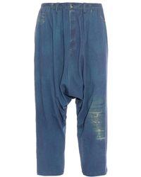 Yohji Yamamoto Drop-crotch Denim Trousers - Blue