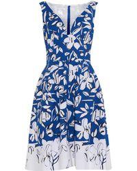 Oscar de la Renta V-Neck Floral-Print Dress - Lyst
