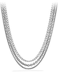 David Yurman Threerow Chain Necklace - Lyst