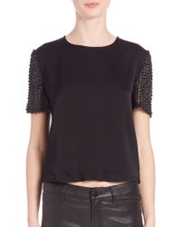 Haute Hippie | Embroidered-sleeve Cropped Top | Lyst