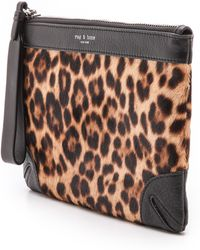 Rag & Bone Haircalf Flat Zip Pouch - Leopard - Lyst