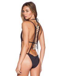 Pacific & Driftwood - Black Bone Swimsuit - Lyst
