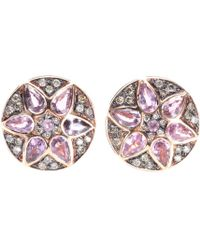 Ileana Makri Deco Flower 18kt Rose Gold Stud Earrings with Pink Sapphires and Brown Diamonds - Lyst