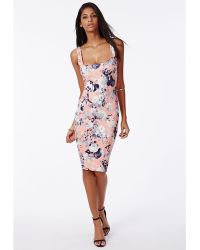 Missguided Chenai Bodycon Dress Pink Floral - Lyst
