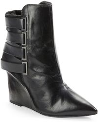 Luxury Rebel Rahda Shearling-Lined 2 Leather And Suede Wedge Ankle Boots - Lyst