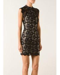 Lover Black Flower Pattern Lace Dress - Lyst
