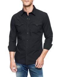 True Religion Jake Chambray Western Poplin Mens Shirt - Lyst