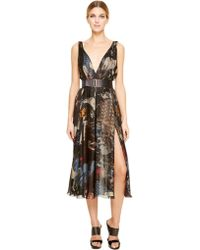 Donna Karan New York Belted Sleeveless V Neck Dress With Open Back And Slits - Lyst