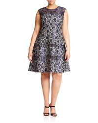 Kay Unger Lace Fit-&-Flare Dress blue - Lyst