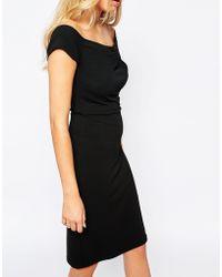 Love Bardot Midi Dress With Pleat Front - Black