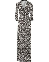 Diane Von Furstenberg Printed Stretch-jersey Wrap Dress - Lyst