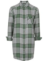 Topshop Oversized Checked Shirt - Lyst