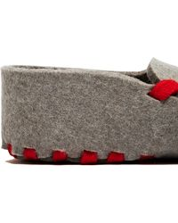 Lasso - Men's Felt Lace-up Slippers From Ss15 In Grey And Green - Lyst