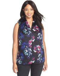 Ellen Tracy | Floral Print V-neck Shell | Lyst
