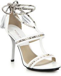 Michael Kors Valera Leather & Snakeskin Ankle-Tie Sandals white - Lyst