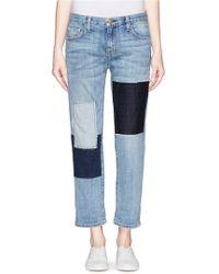 Current/Elliott 'The Boyfriend' Patchwork Jeans - Lyst