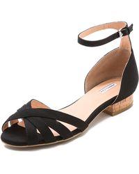 Marais Usa Cork Heel Sandals Licorice - Black
