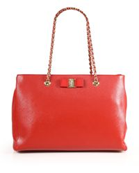 Ferragamo | Melike Saffiano Leather Chain Shoulder Tote | Lyst