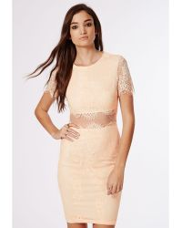 Missguided Coldie Lace Short Sleeved Mesh Insert Midi Dress Nude - Lyst