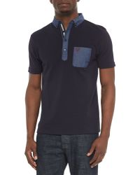 Fred Perry Contrast-Pocket Woven Polo Shirt - Lyst