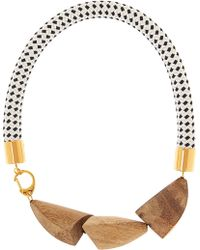 Marni Gold-Plated, Wood And Rope Necklace - Lyst