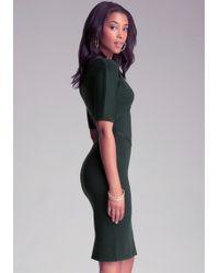 Bebe Peekaboo Mockneck Dress - Green