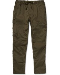 White Mountaineering Slim-Cotton And Linen-Blend Utility Trousers green - Lyst
