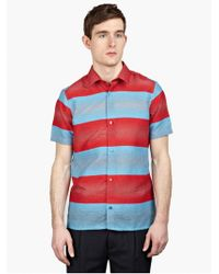 Raf Simons Men'S Striped Textured Shirt blue - Lyst