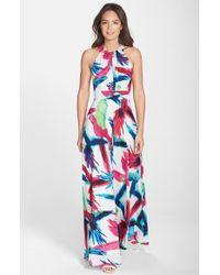 Eliza J Printed Halterneck Maxi Dress - Lyst
