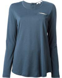 Carven Embellished Pocket Long Sleeve T-shirt - Lyst