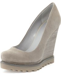 Luxury Rebel - Syri Suede Stacked Wedge - Lyst