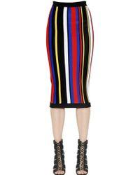 Balmain Striped Viscose Knit Pencil Skirt - Lyst