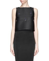 Comme Moi Jewelled Stripe Cropped Top black - Lyst