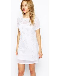 Asos 3D Floral Embellished Body-Conscious Dress - Lyst