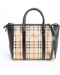 Burberry Black Coated Canvas and Leather Haymarket Medium Chatton Tote - Lyst