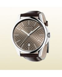 Gucci G-timeless Slim Collection Stainless Steel And Leather Watch - Lyst