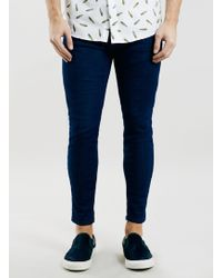 Topman Blue Rinse Wash Cropped Stretch Skinny Jeans - Lyst