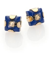 Marc By Marc Jacobs Kandi Gem Square Stud Earrings blue - Lyst