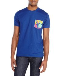 Wesc Navy Printed Patch Pocket Tee - Lyst