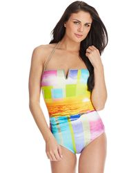 Trina Turk Crystal Bandini One Piece Swimsuit - Lyst