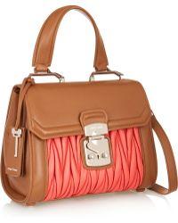Miu Miu Two-Tone Matelassé Leather Shoulder Bag - Lyst